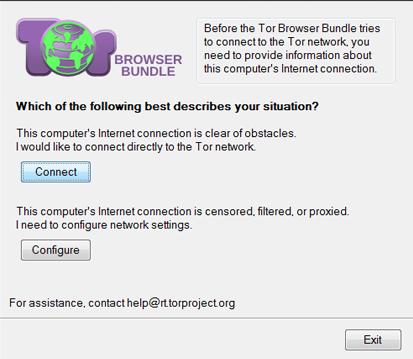 configurazione Tor browser