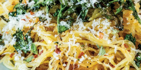 Easy Recipes Roasted Spaghetti Squash with Kale and Parm