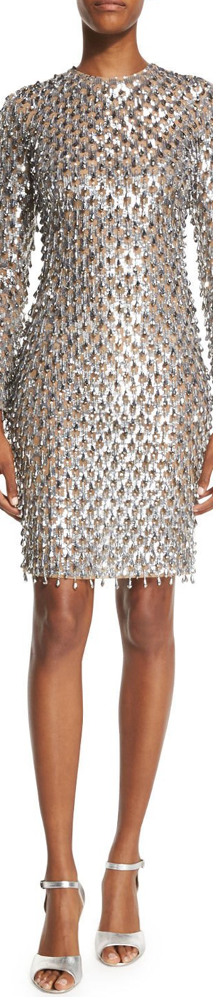 Michael Kors Dangling Metallic Long-Sleeve Dress, Silver/Suntan