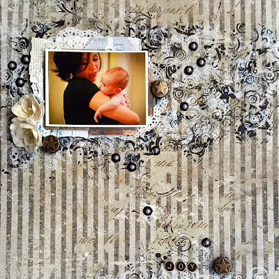 Joy scrapbook mixed media layout Scraps of Darkness March 2017 Boys Will Be Boys by Jessica McFall