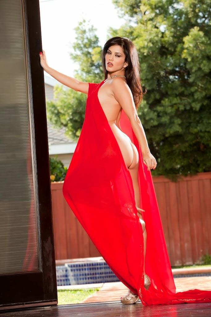 Sunny Leone Hindu Tease In Red Saree Strip Photos