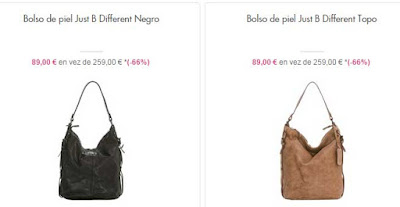 bolso piel modelo just b different en color negr o topo