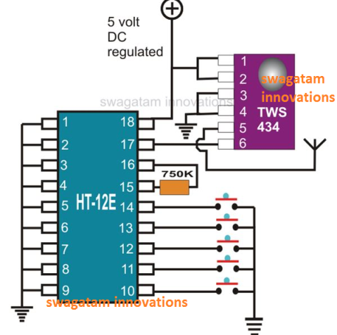 RF transmitter configuration using the chip TWS-434 and HT-12E