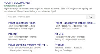 Tampilan hasil pencarian telkomsel pagi ini di halaman goole