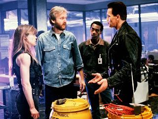 James Cameron directing Terminator 2 Arnold Schwarzenegger Linda Hamilton