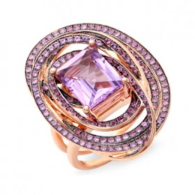Image showing a spectacular ring featuring a centre cut amethyst surrounded by 172 pieces of amethyst in a pave cut