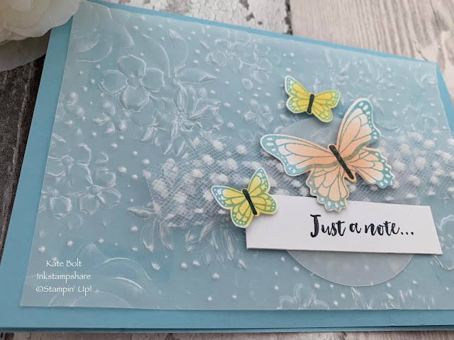 Pretty, soft, hand made card using the Country Floral Embossing Folder , Daffodil Delight and Grapefruit Grove