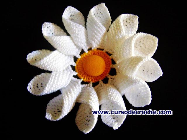 edinir croche ensina Como fazer flores em Crochê - Flor Margarida passo a passo para destros e canhotos com edinir croche no curso de croche