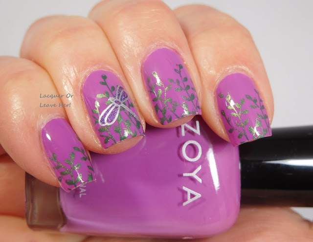 UberChic Beauty Garden Love over Zoya Lois, stamped with Hit The Bottle and Messy Mansion polishes