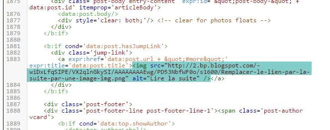 Remplacer le lien Lire la suite par une image sur Blogger