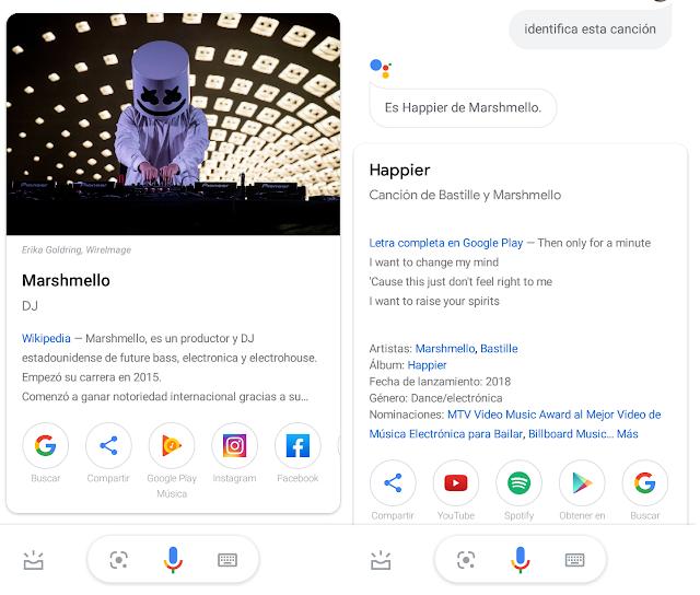 identificación de musica de google assistant