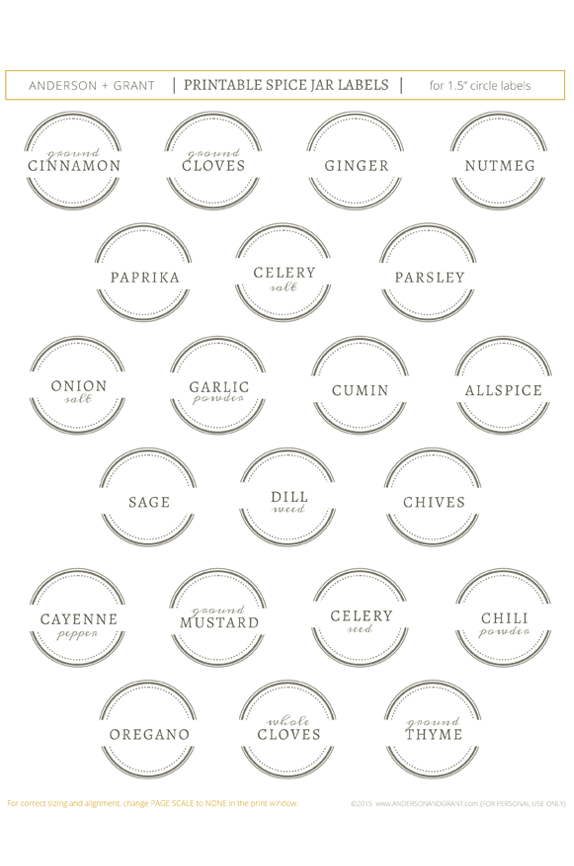 image about Free Printable Spice Labels identified as Totally free Printable Spice Jar Labels toward Arrange Your Kitchen area