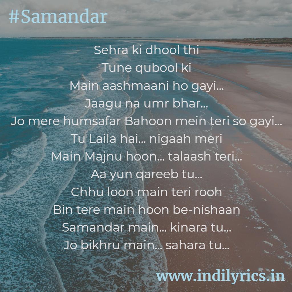 Samandar Main Kinara Tu | Jubin Nautiyal | Song Lyrics with English