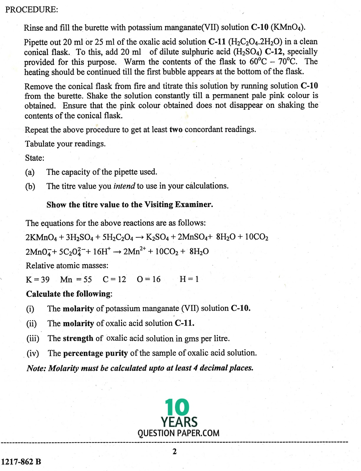 question of chemistry Chemistry higher tier chemistry 1h specimen 2018 time allowed: 1 hour  45 minutes materials for this paper you must have: • a ruler • a calculator.