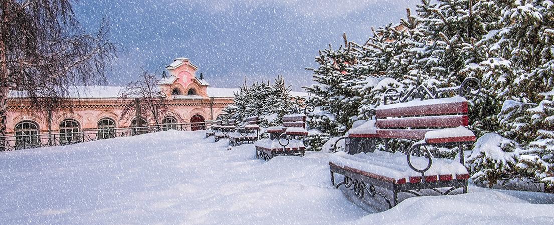 Зима, снег, скамейка, г. Кунгур