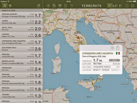 Terremoto l'app per iPhone e iPad
