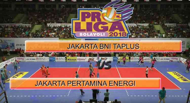 Review Pertandingan Bola Voli Putra Jakarta BNI Taplus dan Jakarta Pertamina Energi Proliga 2018