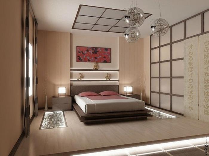 japon tarzı sade ve şık yatak odası dekorasyonu