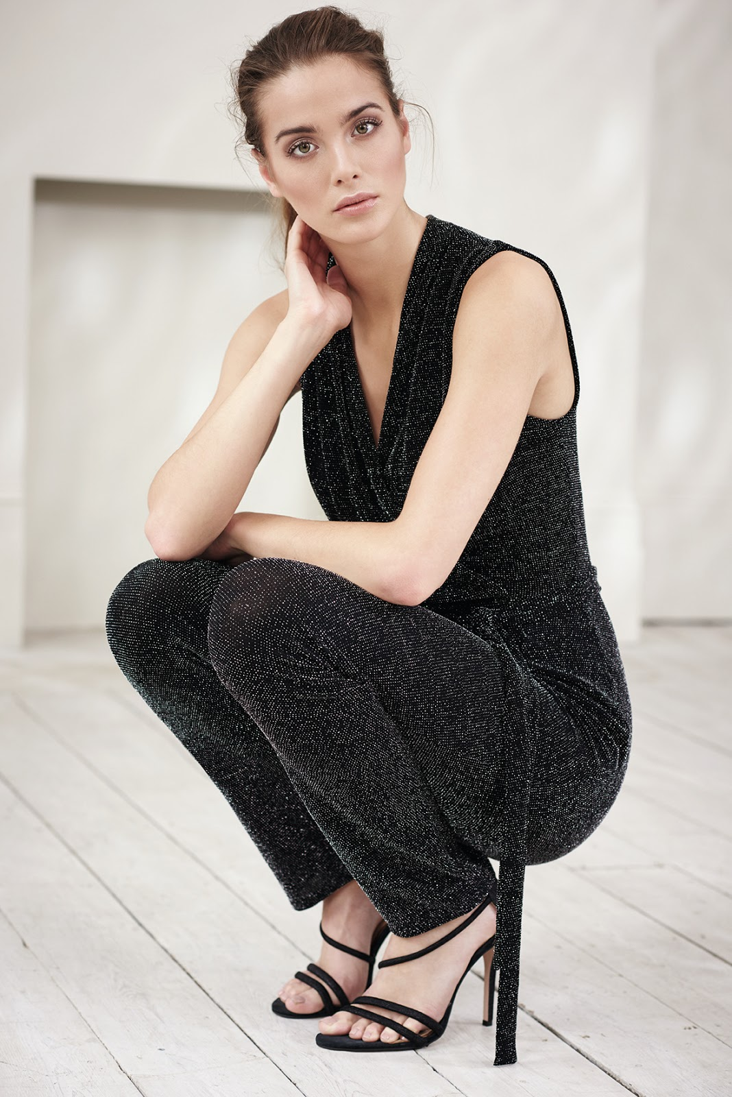 Wallis Black Sparkle Wrap Jumpsuit