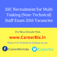 SSC Recruitment for Multi Tasking (Non-Technical) Staff Exam 2016 Vacancies