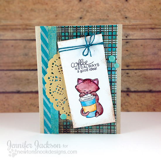 Coffee Cat card by Jennifer Jackson | Newton Loves Coffee Stamp set by Newton's Nook Designs #newtonsnook #coffee