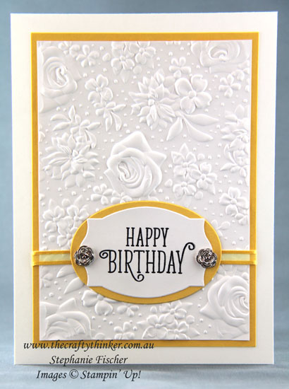 #thecraftythinker #stampinup #cardmaking #saleabration2019 #countryfloral #elegantcard , Sale-A-Bration, Country Floral, Elegant birthday card, Stampin' Up Australia Demonstrator, Stephanie Fischer, Sydney NSW