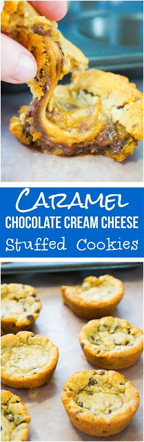 Caramel Chocolate Cream Cheese Stuffed Cookies