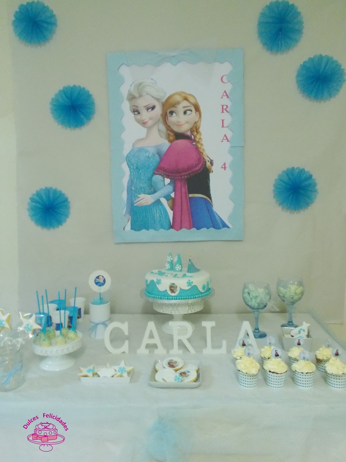 Dulces felicidades cumplea os frozen for Decoracion para pared para cumpleanos