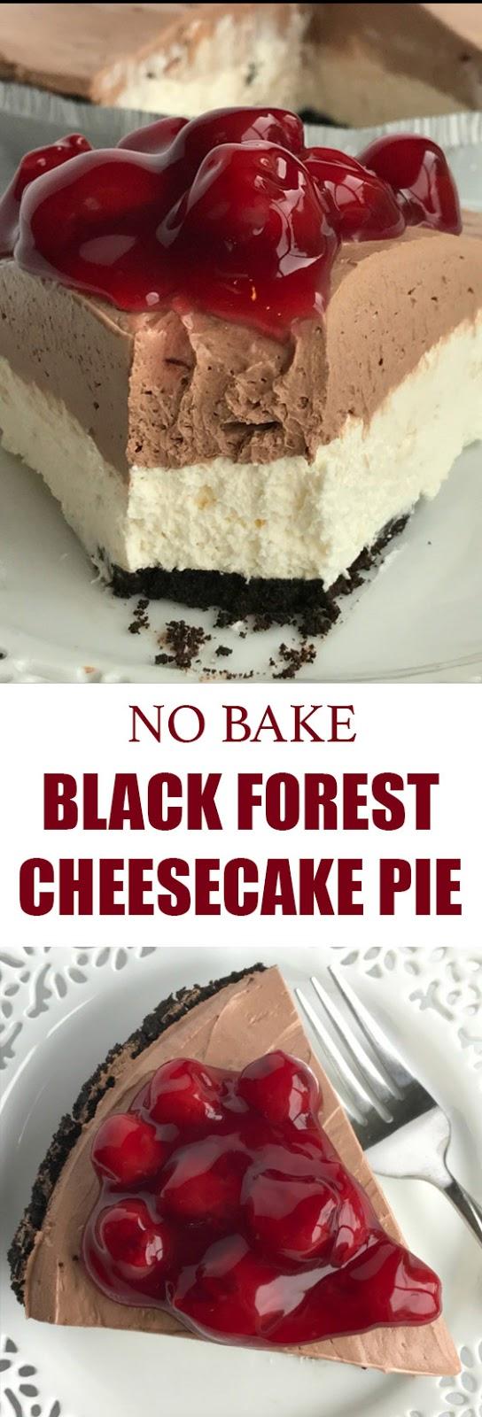 No Bake Black Forest Cheesecake Pie