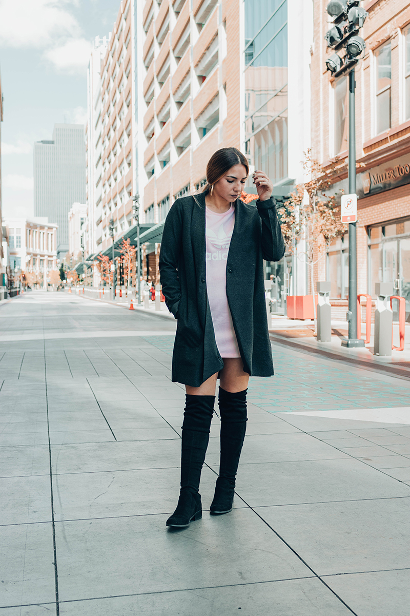 over the knee boots outfit, otk boots, trench coat