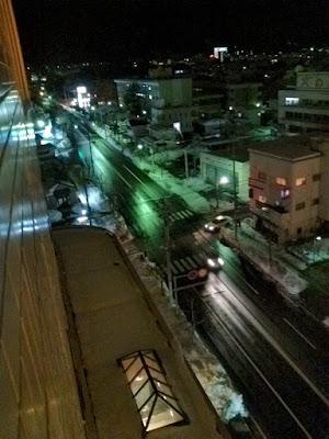 冬の夜の会津若松市市内