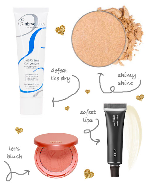 Embryolisse lait-creme concentre with ABH single eyeshadow, tarte blue fiesty and bite beauty lip mask guide