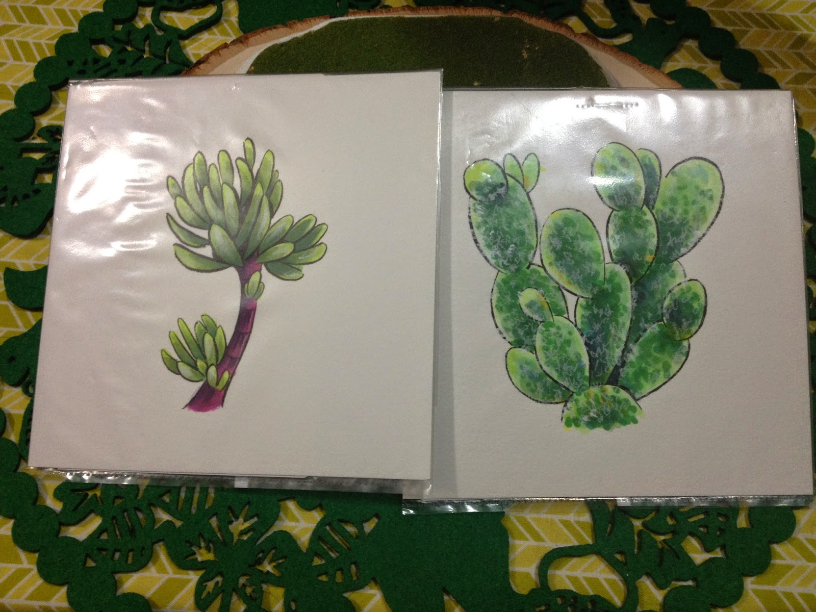succulents, copic, copic and watercolor,