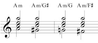 Slash chords indicating a bassline