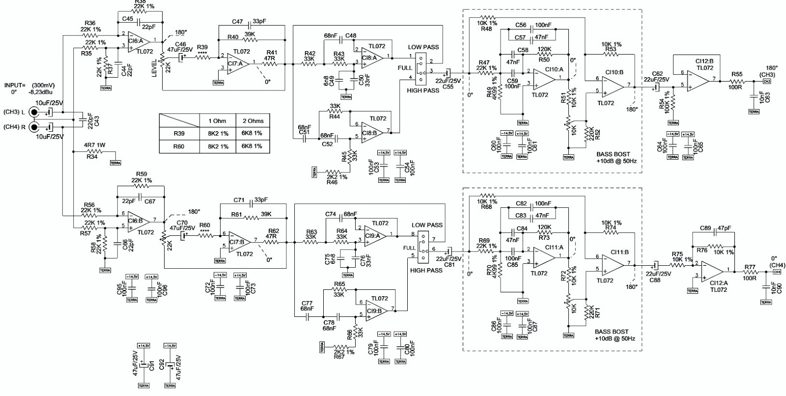 Irs2092 Amplifier Schematic Class D Circuit Lm1036 Tone Controlled Power Electro Help Taramps Ts800 X4r1 1 Ohm 2 Ohms Car 400w Claas Subwoofer