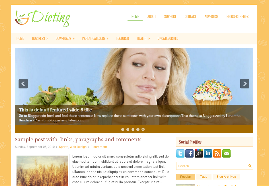Dieting Health Responsive Blogger Template Free Download