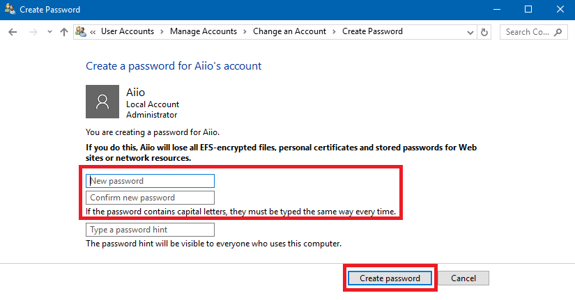Menambahkan Password Windows 10