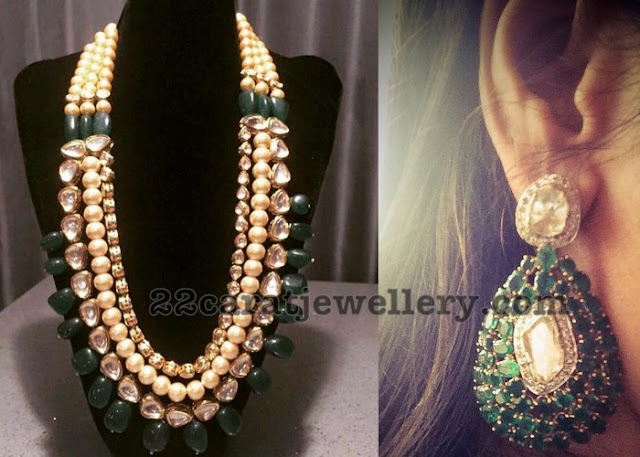 Polki Pearls Long Set Emerald Earrings