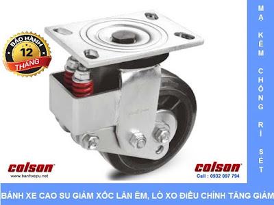 Bánh xe đẩy xoay đa chiều có lò xo Colson phi 150 mm | SB-6509-648 banhxedayhang.net