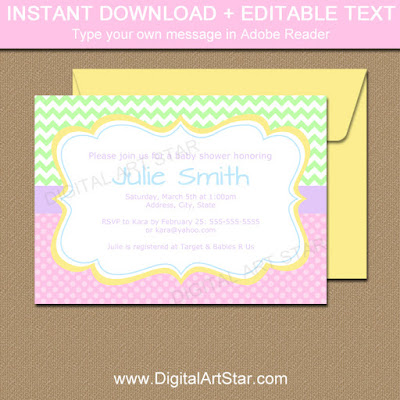 spring baby shower invitation template