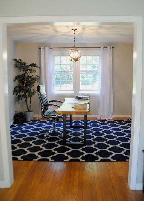 Home Office makeover from dining room, navy rug, man's home office, masculine office, industrial chic office, stylish office