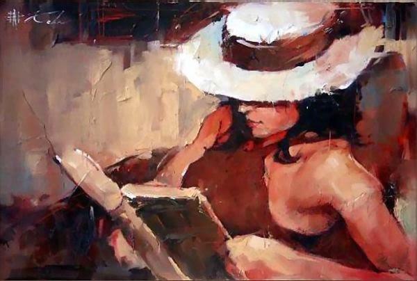 Mulher Lendo - Andre Kohn e suas pinturas - Impressionismo Figurativo