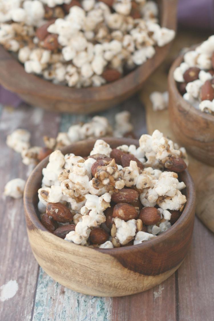 Spiced Almond Popcorn Snack Mix   #CelebrateAlmonds