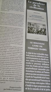 Revue Elements. Le paradoxe de la civilisation. Thibault Isabel. Krisis Diffusion.