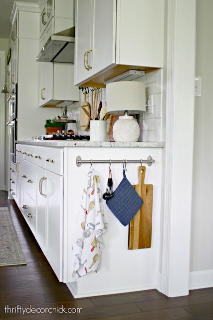 IKEA hanging rod on kitchen cabinets