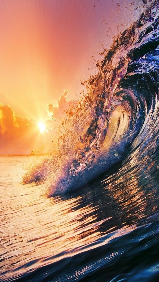 Golden Surfing Wave Sunset  Galaxy Note HD Wallpaper