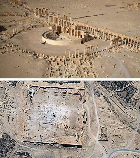 Palmira: antes e depois da demolição.