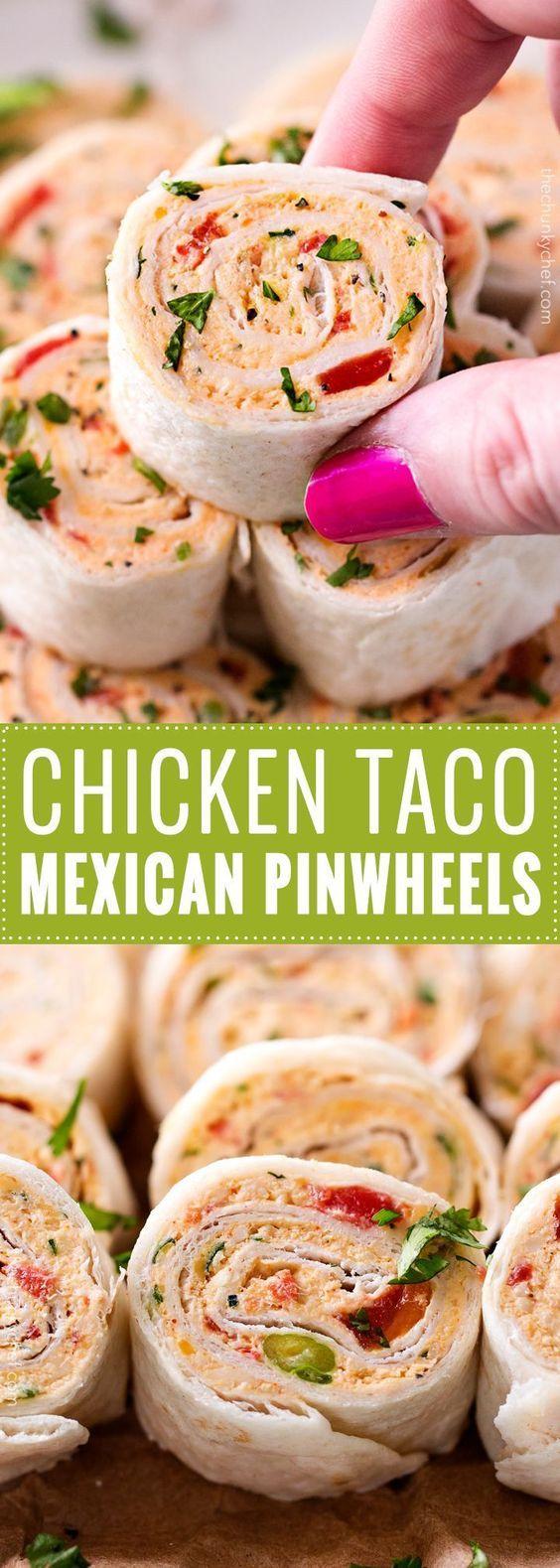 CHICKEN TACO MEXICAN PINWHEELS #appetizer #chicken #taco #mexican #pinwheels