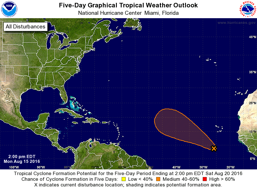 Tropical depression moving over the central Atlantic (w/tracking map)