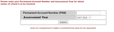 Tax refund status by PAN